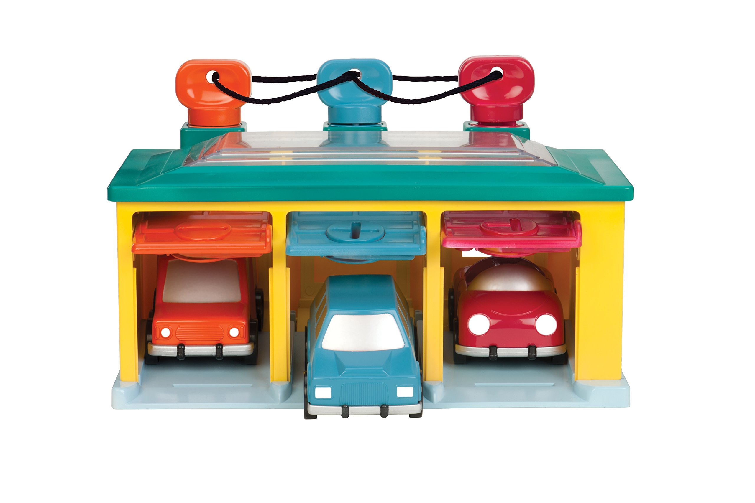 Garage with Keys and 3 Toy Cars