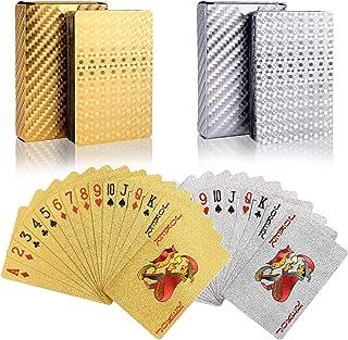 BETOY póker Naipes 2 Paquete Cartas de Poker Impermeables Cartas de póker de plástico Cartas magicas clásicas para niños y...