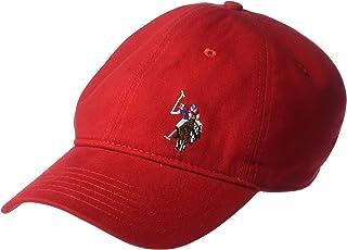 يو.اس. بولو اسن . قبعة بيسبول من نسيج قطني مضلع مغسول للرجال، مطرز على واجهة الحصان
