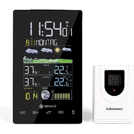 Alarm Snooze 3 Au/ßenkan/äle Farbdisplay LCD Bildschirm. 2020 Version Wetterstation Funk mit Au/ßensensor Wettervorhersage Digitaler Thermometer Hygrometer f/ür Innen Au/ßen