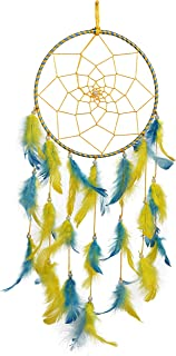 ILU Dream Catcher, Wall Hangings, Home Decor, Handmade Dreamcatcher for Bedroom, Balcony, Garden, Party, Cafe, Small Ring Beaded Yellow & Blue Feathers, 17cm Diameter, Length 51cm