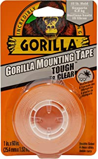Gorilla Tough & Clear Double Sided Mounting Tape, Hanging, Instant 6.8kg Strong Hold, Permanent Bond, Weatherproof, 25.4mm...