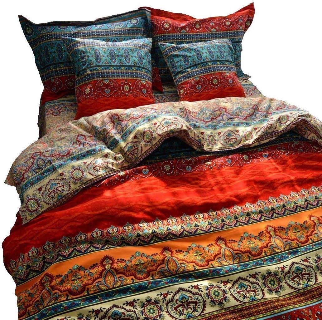 Ranking TOP7 LELVA Boho Duvet Cover Set Stripe Colorful California Flat Max 78% OFF King