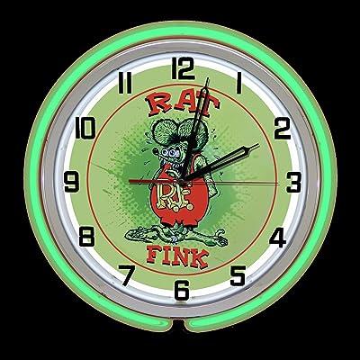 "Rat Fink Rat Rod 19/"" Double Neon Clock Red Neon Man Cave Bar Garage Green Sign"