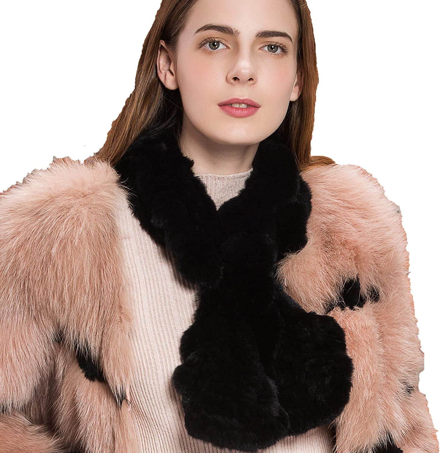 YISEVEN Women's Warm Winter Soft Real Rabbit Fur knitted Collar Stole Shawl Thick Scarf pink Design