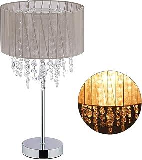 Relaxdays 10029522 Lampe de Table Cristal, Abat-Jour en Organza, Pied Rond, veilleuse, HxD, Gris 43 x 24 Argent, Fer, Tiss...