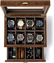TAWBURY Leather Watch Box Case - Luxury Display Cases for Large Mens Wrist Watches | Dresser Organizer with Jewelry, Sunglasses & Watch Band Storage | Watchbox with Valet Drawer | Gifts for Men Him