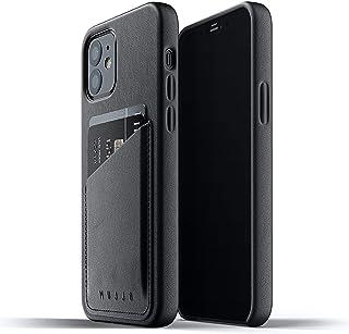 """Mujjo iPhone 12 mini Leder Hülle   Schwarz   Premium Wallet Case   Fächer für 2 3 Karten   Extra Dünn   Stoßfeste Schutzhülle   Kabelloses Laden   5,4""""   Einzigartiger Natürlicher Alterungseffekt"""