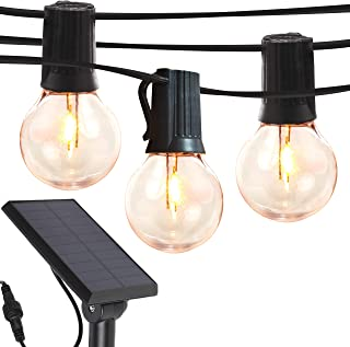 Brightech Ambience Pro - Globe Solar LED Outdoor String Lights – Waterproof, 1W Retro Edison Filament Bulbs - 27 Ft Patio ...