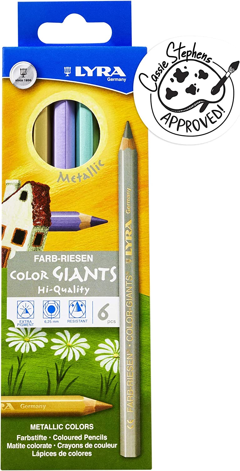Lyra Color-Giants Colored Pencils, Lacquered, 6.25 Millimeter Cores, Set of 6 Pencils, Assorted Metallic Colors (3941062) Multicolored Set of 6 (Metallic)