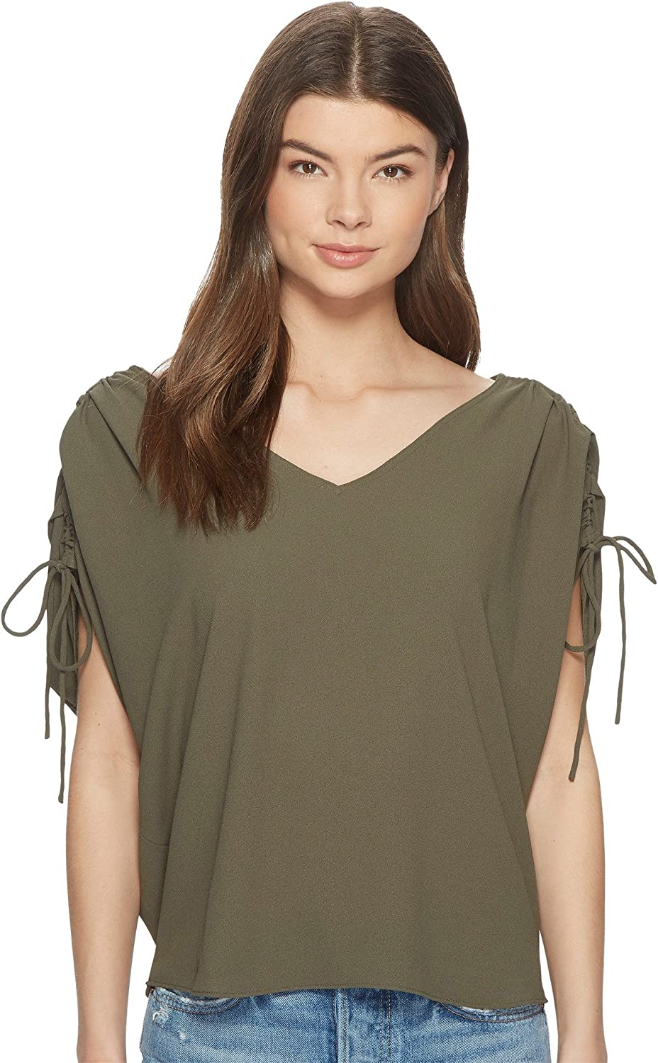 1.STATE Womens Cinched Sleeve VNeck Blouse