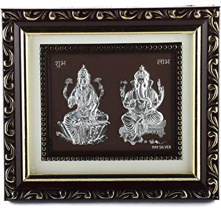 Hem Jewels 999 Pure Silver Ganesh Lakshmi Frame for Gift and Home Décor (5 x 6 Inches)
