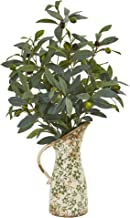"""Nearly Natural 23"""" Olive Artificial Vase in Floral Pitcher Silk Plants, Green"""
