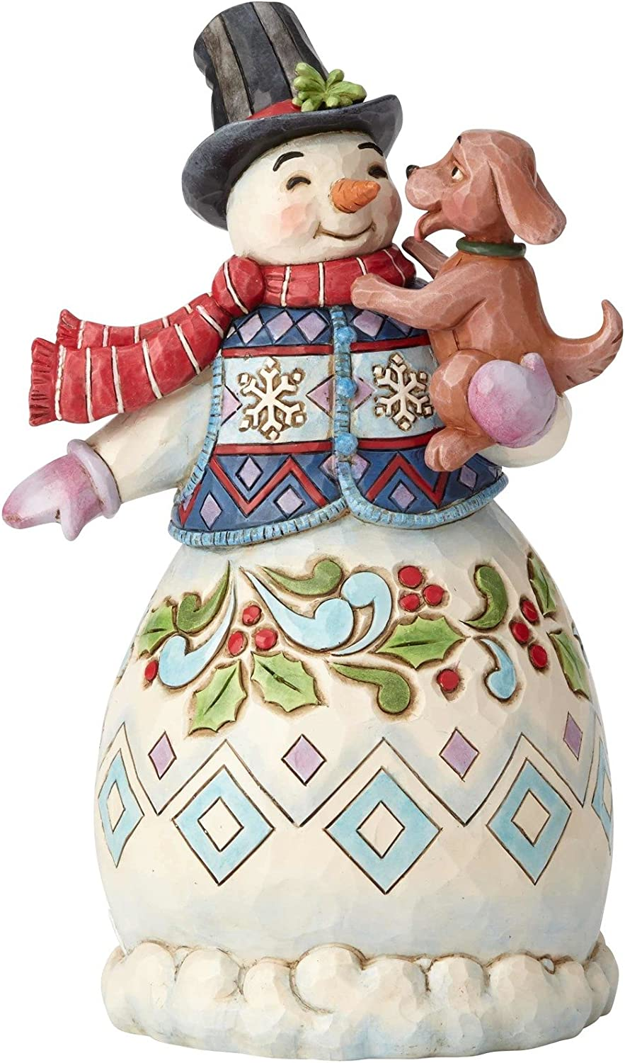 Enesco Jim Shore Heartwood Creek Snowman with Dog Figurine, 8.25 , Multicolor