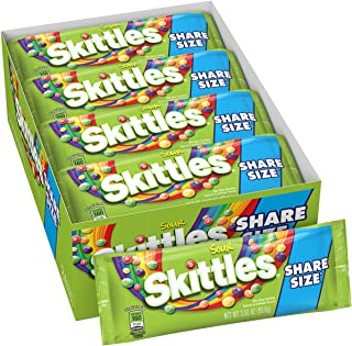 Skittles Sour Candy, 3.3 ounce (24 Share Size Packs)