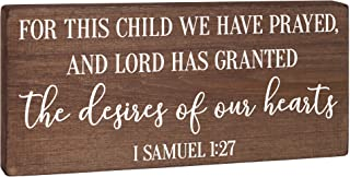 For This Child We Have Prayed - Nursery Decor - Children's Room Sign Rustic Wood Farmhouse Wall Art Neutral 5.5x12 Christi...