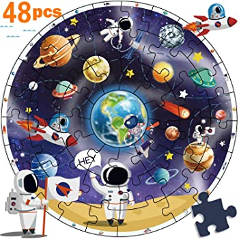 iPlay, iLearn Wooden Solar System Jigsaw Puzzles, Circular Floor Puzzle, Planets Learning Space Toy, Educational Chil...