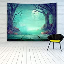 Halloween Illustration Tapestry Wall Hanging, Spooky Forest with Dead Trees And Pumpkins Wooden Table Bat Full Moon Night Green Background, Tapestry For Halloween Decoration Wall Decor Art Tapestries