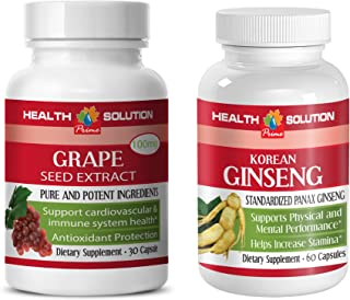 Energy Boost Formula - Grape Seed Extract - Korean Ginseng Extract- Grape Seed trunature - 2 Bottles Combo (30 Capsules + ...