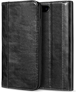 iPhone 8 Plus / 7 Plus Genuine Leather Case, ProCase Wallet Folding Flip Case with Kickstand Card Slots Magnetic Closure Protective Cover for Apple iPhone 8 Plus/iPhone 7 Plus -Black