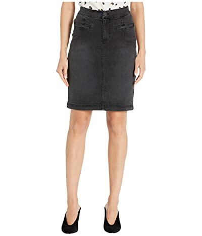 Liverpool Skirt w/ Curved Waistband in Stretch Black Denim in Ember (Ember) Women