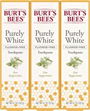 Burt's Bees Toothpaste, Natural Flavor, Fluoride Free Purely White, Zen Peppermint,..