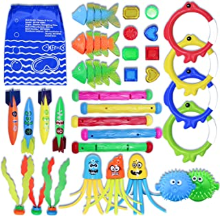 32 Pcs Diving Pool Toys Underwater Swimming Toys with 5 Diving Sticks, 4 Diving Torpedos, 4 Diving Rings, 8 Gems, 3 Diving...