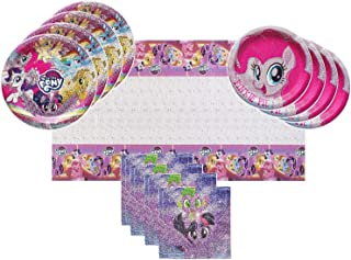 My Little Pony 2 Party Supplies Tableware Bundle Pack for 16 Guests - Includes 16 Dinner Plates, 16 Dessert Plates, 16 Dinner Napkins, and 1 Tablecover