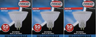 Eveready 3 x 50W 12V Dichroic MR16 (GU5.3 Cap) Cool Beam Halogen Lamp, Low Voltage Dimmable Reflector GU 5.3 Spot Light Bulb, Wide Flood 38 Degree Beam Angle - Pack Of 3