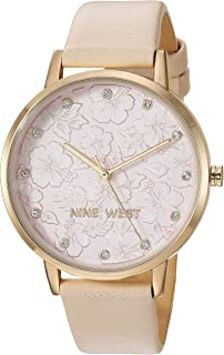 Nine West Women's Crystal Accented Gold-Tone and Ivory Vegan Leather Strap Watch, NW/2422LPIV