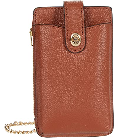 COACH Polished Pebble Turnlock Chain Phone Crossbody (GD/1941 Saddle) Wallet Handbags