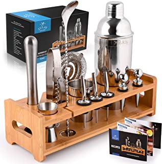 Zulay 24-Piece Bartender Kit - Stainless Steel Bar Set 24oz Cocktail Shaker Set With Accessories - Professional Bartender ...