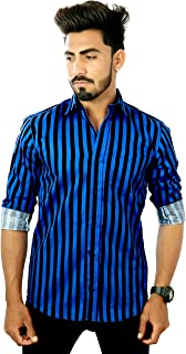 REBANTA Men's Striped Formal Shirt Office Wear Black Blue Pure Cotton