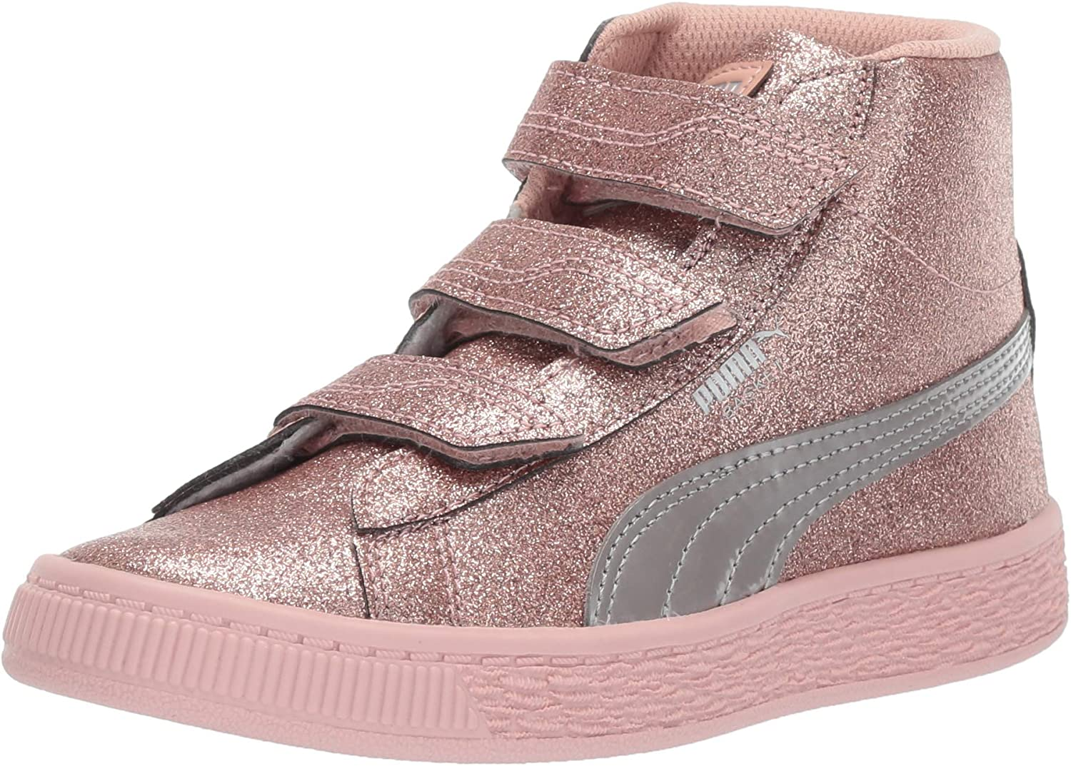 Lowest price challenge PUMA Unisex-Child Quality inspection Basket Mid Strap Sneaker and Loop Hook Glitz