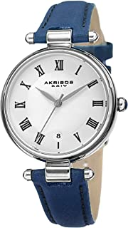 Akribos XXIV AK1070 Designer Women's Watch – Crocodile Embossed Genuine Leather - Guilloche Dial - Roman Numerals - Date of Month (Steal Blue)