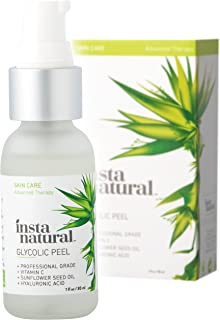 Glycolic Acid Facial Peel 30% - With Vitamin C, Hyaluronic Acid - Best Treatment to Exfoliate Deep, Minimize Pores, Reduce Acne & Breakouts, and Appearance of Aging & Scars - InstaNatural - 1 oz