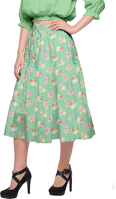 Moomaya Cotton Skirt with Elastic Pull-On Waist Printed Flared Skirt Summer Wear