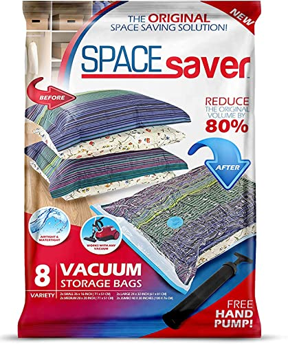 lowest Spacesaver Premium Vacuum discount Storage Bags. 80% More discount Storage! Hand-Pump for Travel! Double-Zip Seal and Triple Seal Turbo-Valve for Max Space Saving! (Variety 8 pack) outlet online sale
