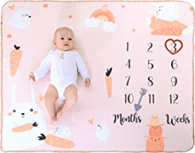 """Rabbit Baby Monthly Milestone Blanket 