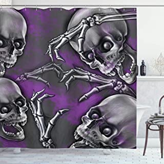 Ambesonne Skull Shower Curtain, Scary Creepy Spooky Happy Smiling Skeleton with Boned Hand Artwork Print, Cloth Fabric Bathroom Decor Set with Hooks, 70