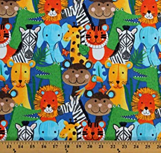 Flannel Jungle Animals Zebras Monkeys Elephants Giraffes Lions Safari Animals on Blue Kids Flannel Fabric Print by The Yard (D283.19)