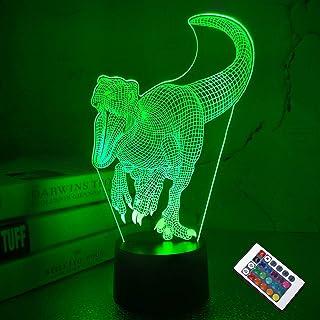 CooPark 3D LED dinosaurio lamparas modelo 3 y 16 colores de decoración que cambian de color con control remoto para niños niñas niños decoración del hogar regalos para amantes de dino