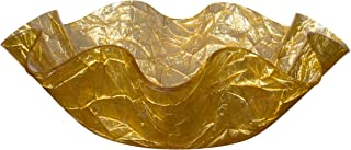 Tehila Collection Lucite Small Serving Bowl with Textured Gold Crumple Pattern 9 1/2 Inch x 3 1/2 Inch