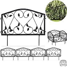 Relaxdays Beetzaun Cercado para jardín (4 Piezas, Hierro, diseño de Hojas, 33 x 225 cm), Color Negro