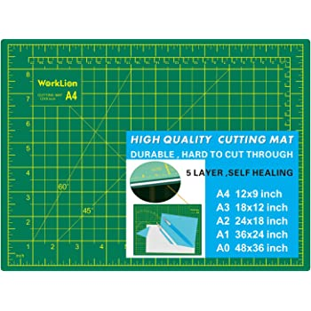 """WORKLION Full 9"""" x 12"""" Art Self Healing PVC Cutting Mat, Double Sided, Gridded Rotary Cutting Board for Craft, Fabric, Quilting, Sewing, Scrapbooking Project"""