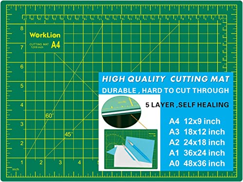 """WORKLION Full 9"""" x 12"""" Art Self Healing PVC Cutting Mat, Double Sided, Gridded Rotary Cutting Board for Craft, Fabric..."""