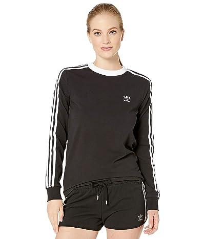 adidas Originals 3-Stripes Long Sleeve Tee (Black) Women