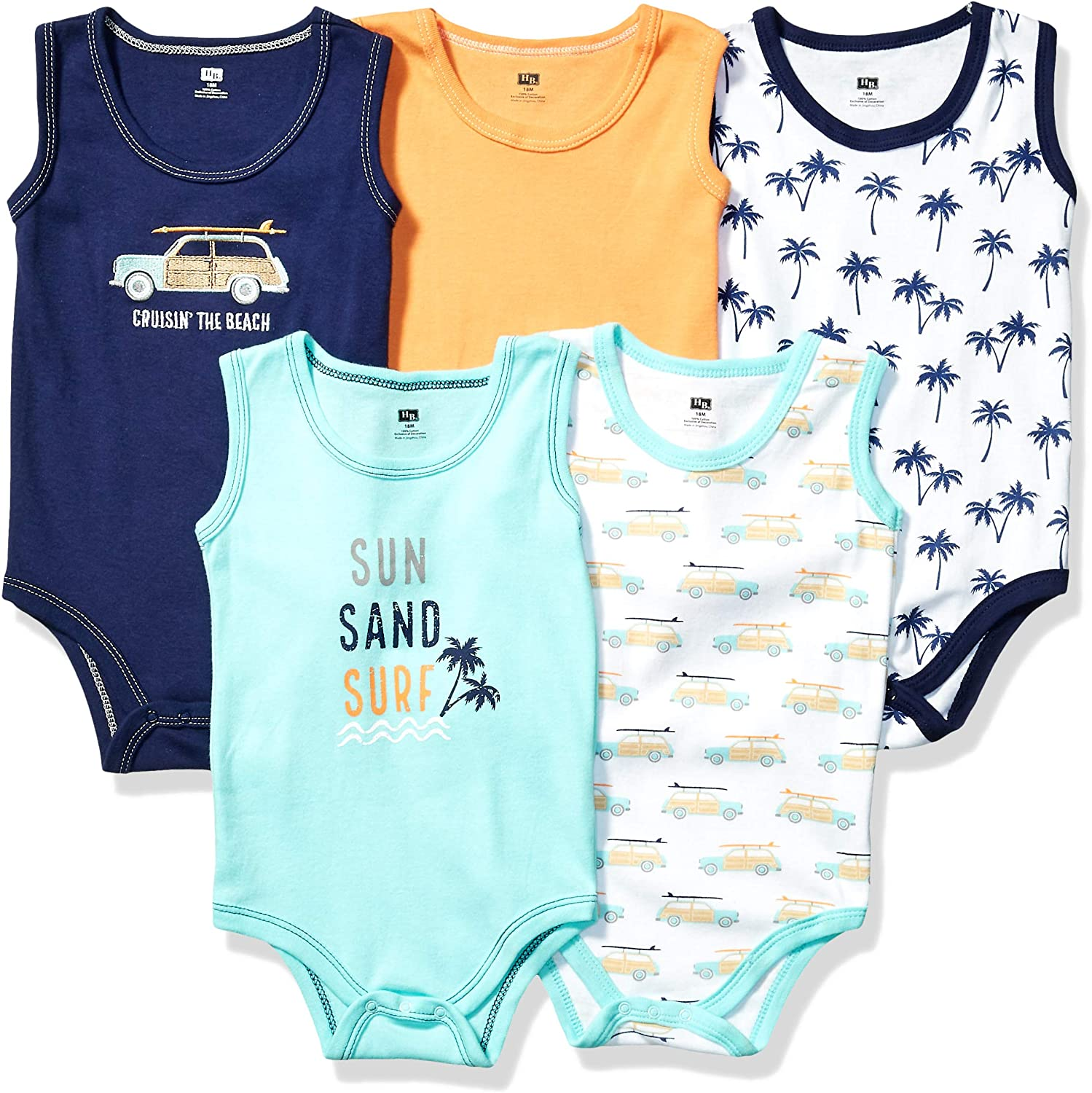 New sales Hudson Baby Unisex Safety and trust Cotton Bodysuits Sleeveless