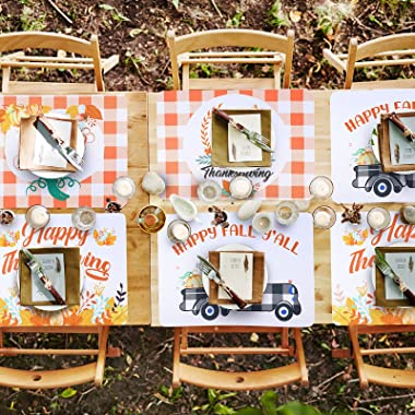 8 Pieces Fall Placemats Thanksgiving Placemats Harvest Buffalo Plaid Dining Table Mats Pumpkin Truck Place Mats Washable Happ