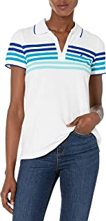 NAUTICA Womens Classic Fit Striped V-Neck Collar Stretch Cotton Polo Shirt Short Sleeve Polo Shirt - Pink - X-Large